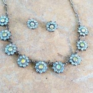 Sparkly blue flower earrings and necklace